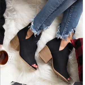 Shoes - Side Cutout Peep Toe Booties